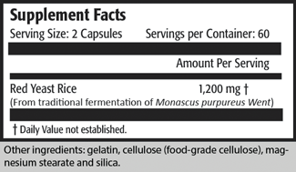 Supplement Facts Serving Size: 2 Capsules                 Servings per Container: 60                                                                    Amount Per Serving Red Yeast Rice                                                  1,200 mg † (From traditional fermentation of Monascus purpureus Went)  † Daily Value not established.  Other ingredients: gelatin, cellulose (food-grade cellulose), magnesium stearate and silica.