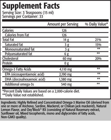 Serving Size: 1 Teaspoon (5 ml) Servings per Container: 100                                                                                     Amount per               % Daily                                                                                        Serving                  Value* Calories (energy)                                                                40 Calories from fat                                                                 40 Total Fat                                                                             4.5 g                      7%* Saturated Fat                                                                       1 g                        5%* Polyunsaturated Fat                                                             2 g                         † Monounsaturated Fat                                                           1 g                        † Cholesterol                                                                        15 mg                   5%*  Omega-3 Fatty Acids                                            1,400-1,700 mg                   †      EPA (Eicosapentaenoic Acid)                                740-825 mg                  †      DHA (Docosahexaenoic Acid)                                460-550 mg                 †      Additional/Other Omega-3s                                    200-325 mg                  †  * Percent Daily Values are based on a 2,000-calorie diet. † Daily Value not established.  Ingredients: Highly refined and concentrated omega-3 marine oil (derived from one or more of anchovy, sardine, mackerel or squid), natural lemon flavor, proprietary antioxidant blend (consisting of natural tocopherols [soy], rosemary extract and ascorbyl palmitate).