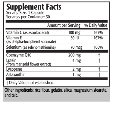 Serving Size: 1 Softgel Capsule       Servings per Container: 30                                          Amount per Serving     % Daily Value Calories (energy)    10      Calories from fat    10 Total Fat                             1 gram                1.5%* Cholesterol                Less than 5 mg Omega-3 Fatty Acids                            125 mg                        †       EPA (Eicosapentaenoic Acid)       40-65 mg                        †      DHA (Docosahexaenoic Acid)     40-65 mg                        †      Other Omega-3 Fatty Acids              25 mg                        † Ascorbyl Palmitate                               250 mg                        †      Vitamin C                                        100 mg                        † CoQ10                                                  100 mg                        † Natural Tocopherols                              50 mg                        † including d-alpha, d-beta, d-gamma and d-delta tocopherols Astaxanthin                                             1 mg                        † Lycopene                                                 2 mg                        † Lutein (Free)                                            4 mg                        † Selenium (as L-Selenomethionine)      70 mcg                        †    *Percent Daily Value is based on a 2000-calorie diet. † Daily Value not established.  Ingredients: Norwegian virgin salmon oil, softgel shell (gelatin, glycerin, annatto extract, titanium dioxide, chlorophyll), ascorbyl palmitate, mixed natural tocopherols, coenzyme Q10, lutein, lycopene, astaxanthin, natural lemon flavor, proprietary antioxidant blend (consisting of rosemary extract, ascorbyl palmitate and natural tocopherols) and L-Selenomethionine. Contains fish (sardine, anchovy).