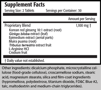 Serving Size: 2 Tablets Servings per Container: 30 Amount per Serving Proprietary Blend 1,100 mg † Korean red ginseng 10:1 extract (root) Ginkgo biloba extract (leaf) Epimedium extract (aerial parts) Muira puama (root) Tribulus terrestris extract fruit L-Arginine HCl Cnidium fruit  † Daily value not established.  Other ingredients: dicalcium phosphate, microcrystalline cellulose (food-grade cellulose), croscarmellose sodium, stearic acid, magnesium stearate, silica and film-coat ingredients (hypromellose, polydextrose, titanium dioxide, FD&C Blue #2, talc, maltodextrin and medium-chain triglycerides).
