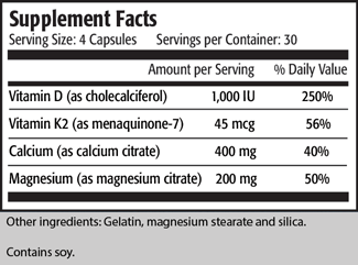 Serving Size: 4 Capsules	 Servings per Container: 30